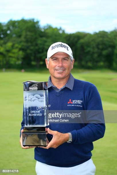 Fred Couples holds the trophy after winning the American Family Insurance Championship held at University Ridge Golf Course on June 25 2017 in...
