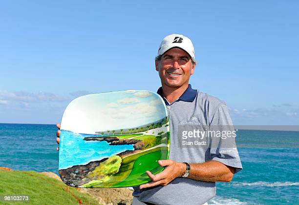 Fred Couples holds the winner's trophy during the final round of The Cap Cana Championship on March 28 2010 on the Jack Nicklaus Course at Punta...