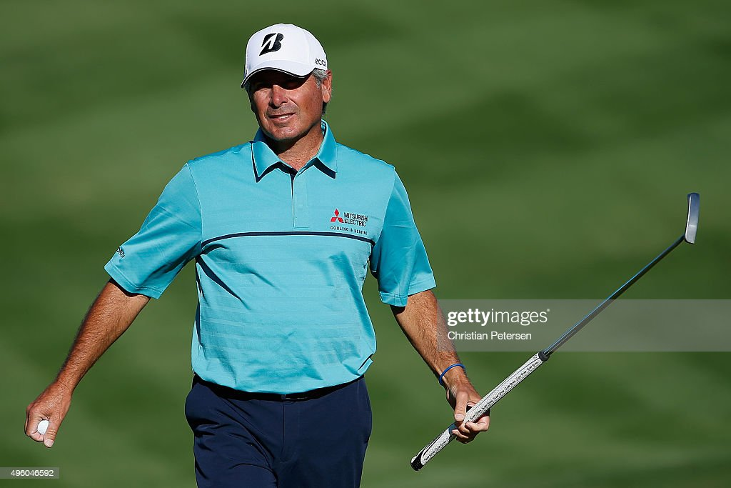 Fred Couples looks up after a par putt on the 14th green during the second round of the Charles Schwab Cup Championship on the Cochise Course at The Desert Mountain Club on November 6, 2015 in Scottsdale, Arizona.