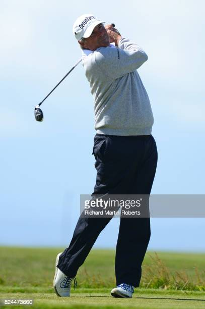 Fred Couples of the United States tees off on the 10th hole during the final round of the Senior Open Championship presented by Rolex at Royal...