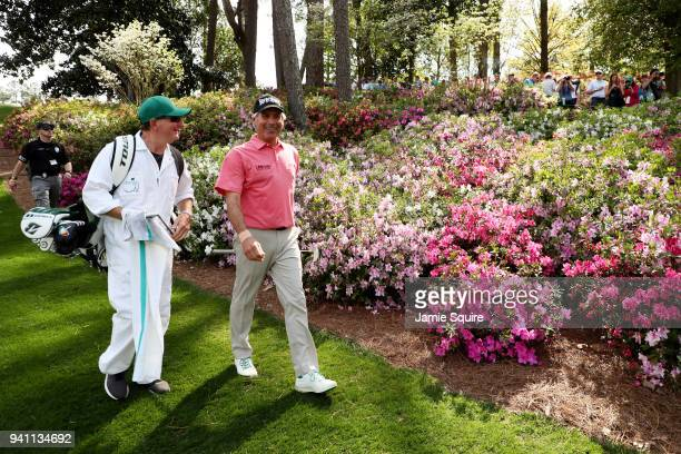 Fred Couples of the United States walks up the eighth hole during a practice round prior to the start of the 2018 Masters Tournament at Augusta...