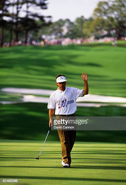Fred Couples of USA on the 10th green during the final round of the Masters, held at The Augusta National Golf Club on April 12, 1992 in Augusta, GA.