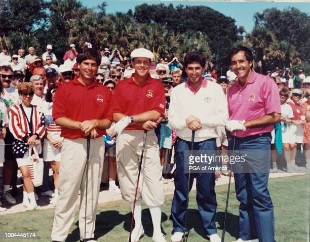 Fred Couples Payne Stewart Jose Maria and Severiano 'Seve' Ballesteros group photo on the tee at the 1991 Ryder Cup