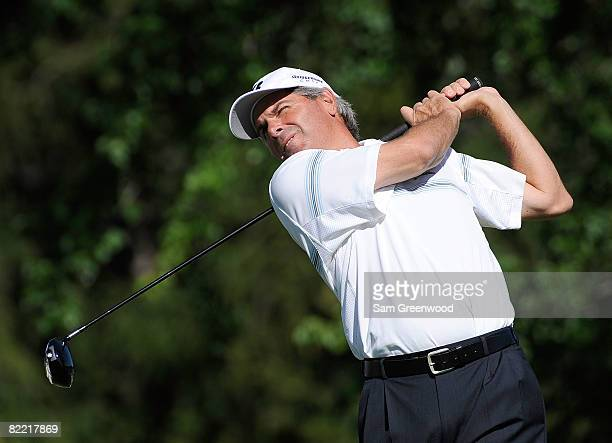 Fred Couples plays his tee shot on the 14th tee during round two of the 90th PGA Championship at Oakland Hills Country Club on August 8 2008 in...
