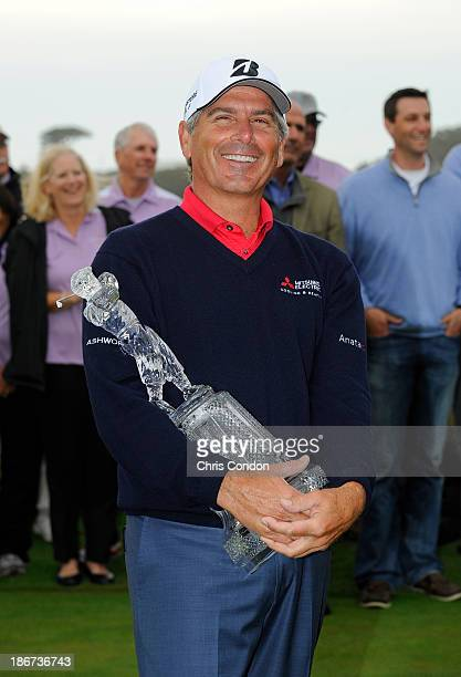 Fred Couples poses with the tournament trophy after winning the Charles Schwab Cup Championship at TPC Harding Park on November 3 2013 in San...