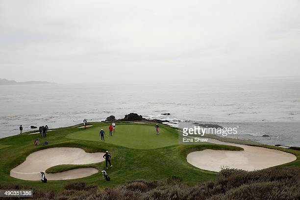 Fred Couples putts on the seventh hole during the final round of the Nature Valley First Tee Open at the Pebble Beach Golf Links on September 27 2015...