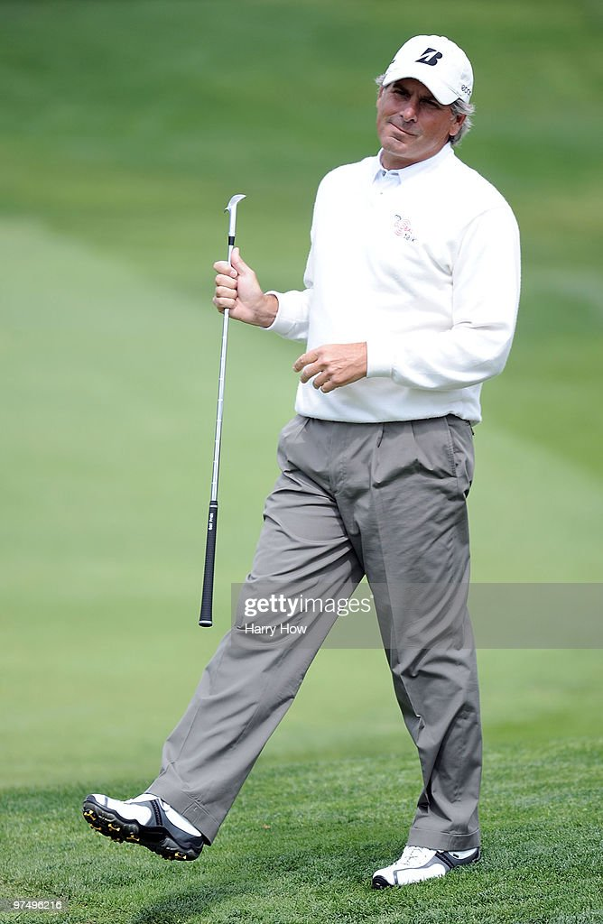 Fred Couples reacts to his chip on the fifth hole during the second round of the Toshiba Classic at the Newport Beach Country Club on March 6, 2010 in Newport Beach, California. Couples shot a round of 64 to lead the tournament.