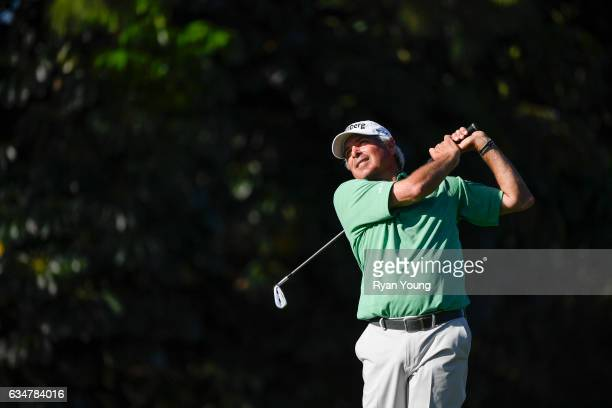 Fred Couples tees off on the 16th hole during the second round of the PGA TOUR Champions Allianz Championship at The Old Course at Broken Sound on...