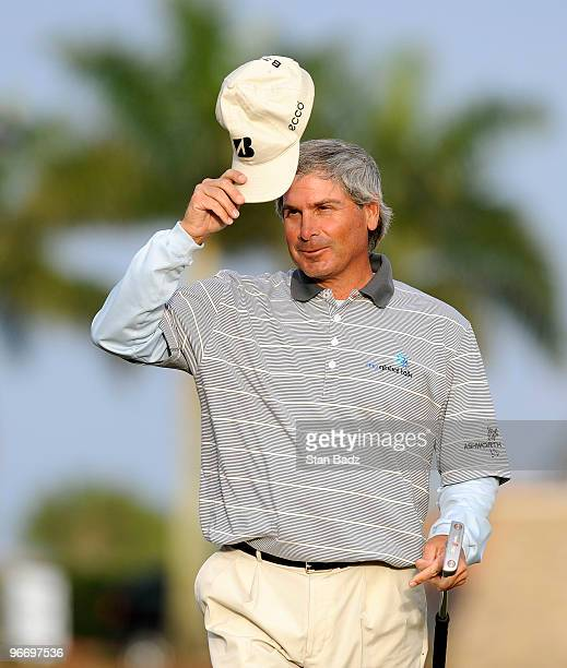 Fred Couples tips his cap after winning his first Champions Tour event during the final round of The ACE Group Classic at The Quarry on February 14...