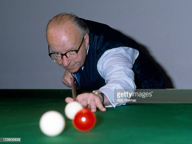 Fred Davis of England playing in the UK Professional Billiards Championship in Southend circa January 1983