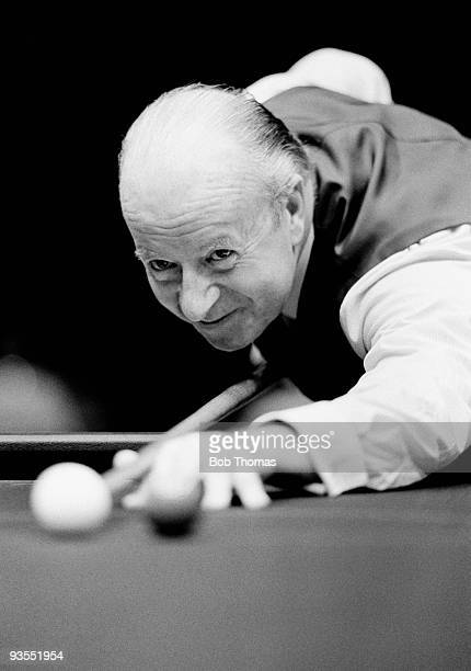Fred Davis of Great Britain in action in a snooker tournament in January 1981