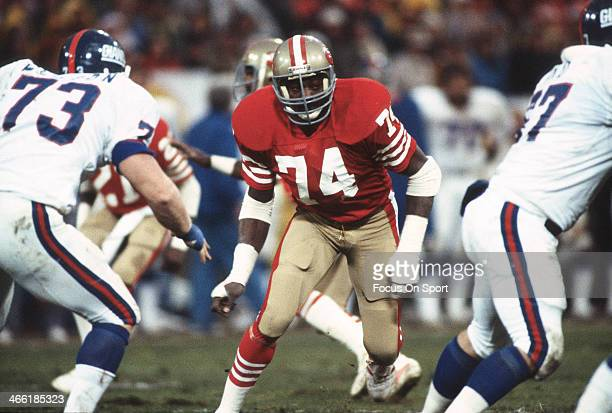 Fred Dean of the San Francisco 49ers in action against the New York Giants during an NFL football game November 29, 1981 at Candlestick Park in San...