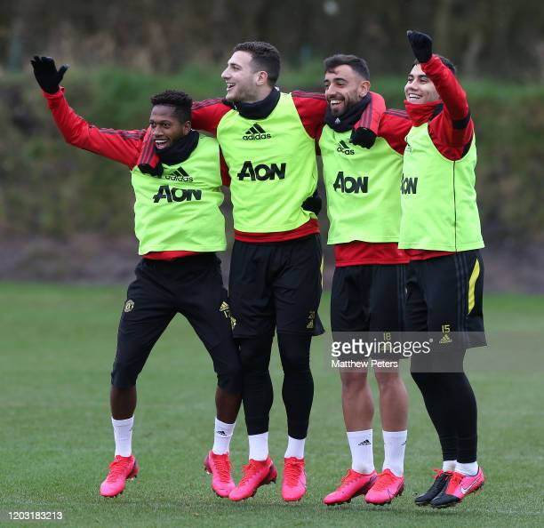 Fred Diogo Dalot Bruno Fernandes Andreas Pereira of Manchester United in action during a first team training session at Aon Training Complex on...