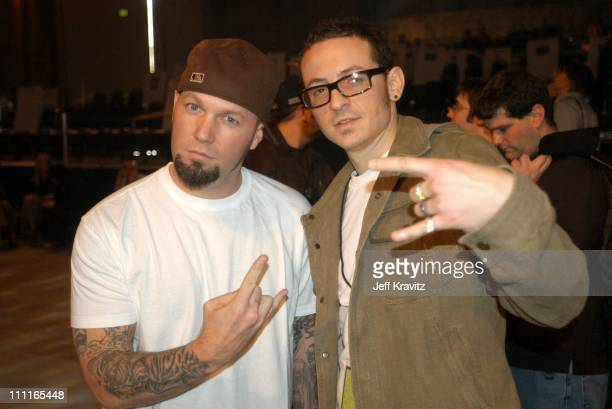 Fred Durst and Chester Bennington of Linkin Park during MTV Icon - Metallica - Rehearsals at Universal Studios Stage 12 in Universal City, CA, United...