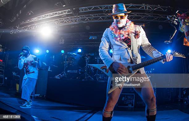 Fred Durst and Wes Borland of Limp Bizkit perform at 02 Academy Liverpool on February 9 2014 in Liverpool England