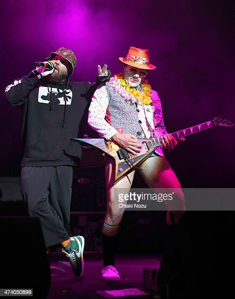 Fred Durst and Wes Borland of Limp Bizkit perform at Brixton Academy on February 21 2014 in London England