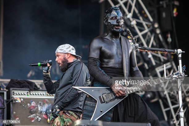 Fred Durst and Wes Borland of Limp Bizkit perform on stage at Sonisphere at Knebworth Park on July 4 2014 in Knebworth United Kingdom