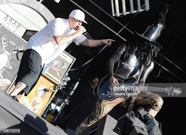 Fred Durst and Wes Borland of Limp Bizkit perform on the main stage during the third and final day of Reading Festival on August 29 2010 in Reading...