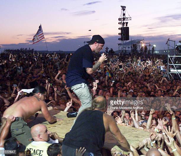 Fred Durst of Limp Bizkit at the 1999 Woodstock Festival held at Griffiss AFB Park in Rome New York on July 23 to 25 1999 Photo by Frank...