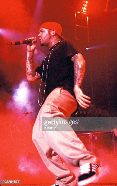 "Fred Durst of Limp Bizkit during Limp Bizkit ""Family Values"" Tour at the Nassau Colliseum at Nassau Colliseum in New York City, New York, United..."