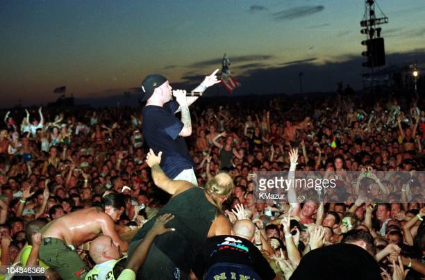 Fred Durst of Limp Bizkit during Woodstock '99 in Saugerties, New York in Saugerties, New York, United States.