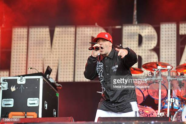 Fred Durst of Limp Bizkit performs live on stage at Sonisphere Festival on July 10 2011