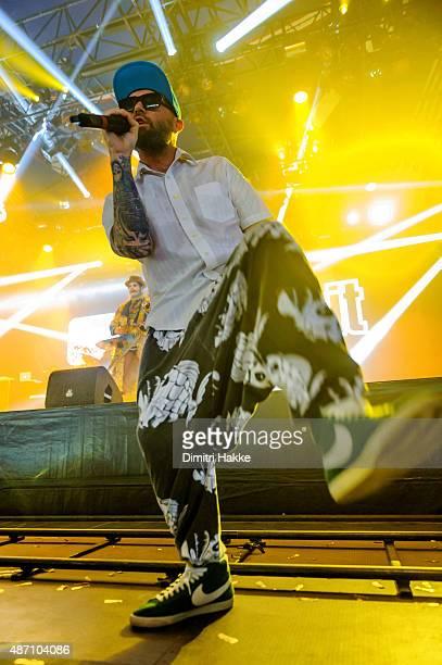 Fred Durst of Limp Bizkit performs on stage at Evenemententerrein Walibi World on August 21 2015 in Biddinghuizen Netherlands
