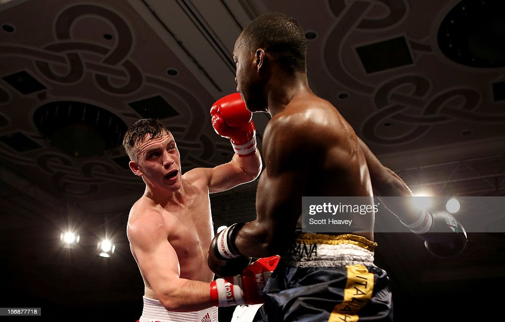 Fred Evans of British Lionhearts (L) in action with Michel Tavares of Italia Thunder during their 68-73kg bout in the World Series of Boxing between British Lionhearts and Italia Thunder on November 23, 2012 in Newport, Wales.
