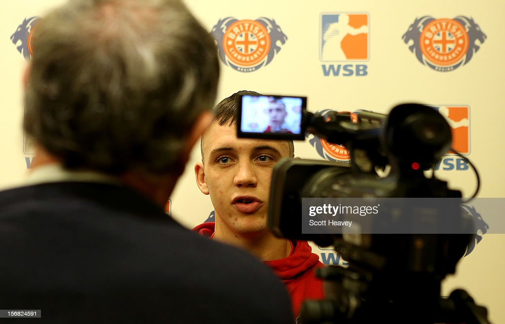 Fred Evans of the British Lionhearts talks to the press during the official weigh in ahead of British Lionhearts v Italia Thunder in the World Series of Boxing on November 22, 2012 in Newport, Wales.