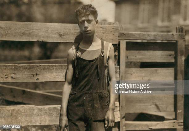 Fred Fowner, 15 years old, Young Doffer in Textile Mill, Fall River, Massachusetts, USA, Lewis Hine for National Child Labor Committee, June 1916.