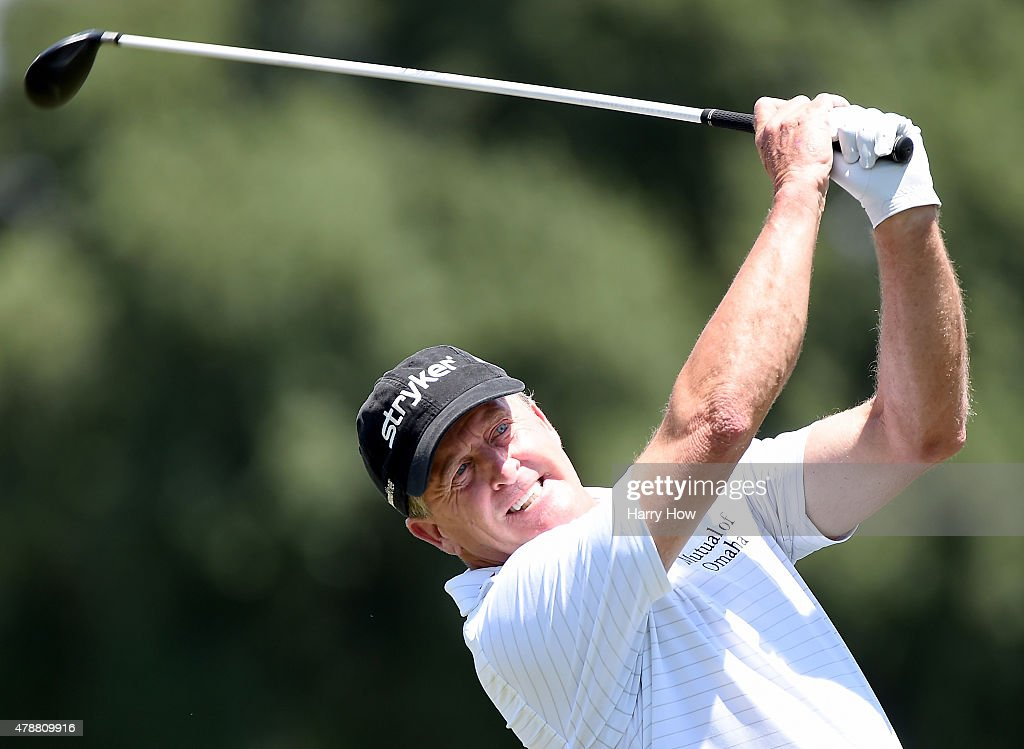 Fred Funk hits a tee shot on the ninth hole during round three of the U.S. Senior Open Championship at the Del Paso Country Club on June 27, 2015 in Sacramento, California.
