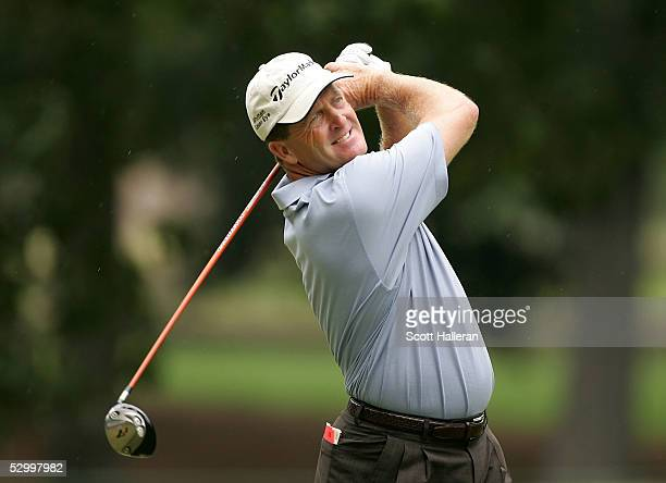 Fred Funk hits his tee shot on the fifth hole during the final round of the Fed Ex St. Jude Classic at the TPC Southwind on May 29, 2005 in Memphis,...