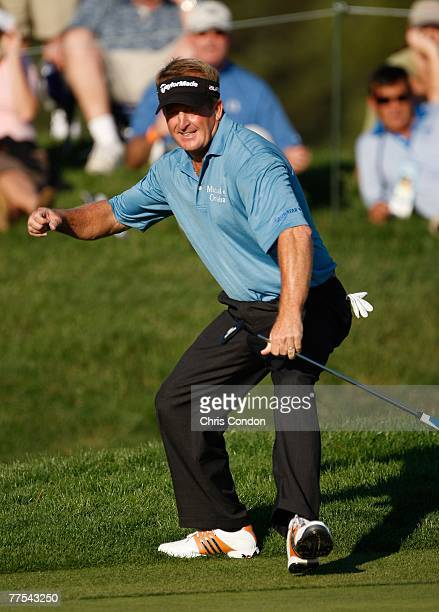 Fred Funk makes an eagle at during the fourth round of the Charles Schwab Cup Championship at Sonoma Golf Club on October 28 in Sonoma California