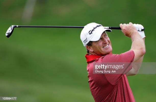 Fred Funk of United States watches his tee shot on the eighth hole during day two of the PGA Champions Tour - Posco E&C Songdo Championship at Jack...