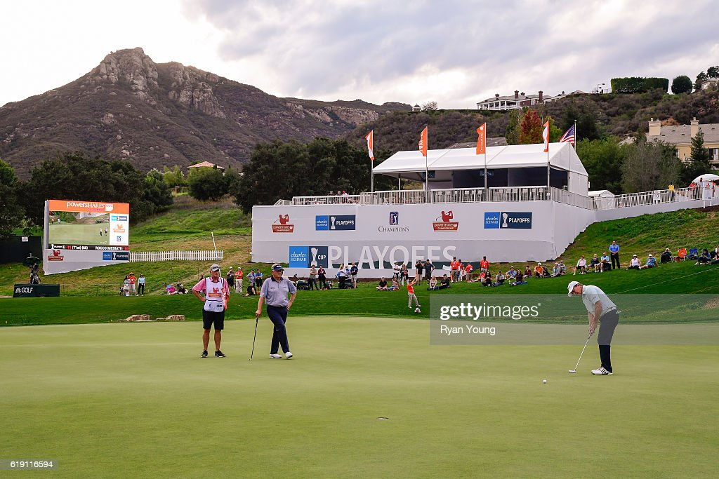 Fred Funk putts on the 18th hole during the second round for the PGA TOUR Champions PowerShares QQQ Championship at Sherwood Country Club on October 29, 2016 in Thousand Oaks, California.