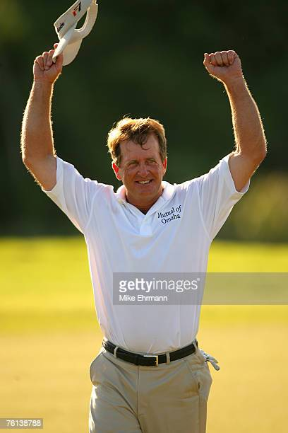 Fred Funk sinks the winning birdie putt on the second playoff hole, the 10th, during the final round of the Mayakoba Golf Classic at El Camaleon at...