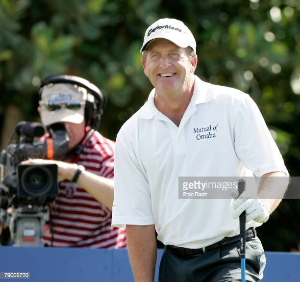 Fred Funk smiles to the gallery at the first tee box during the first round of the Mercedes-Benz Championship at the Plantation Course at Kapalua on...