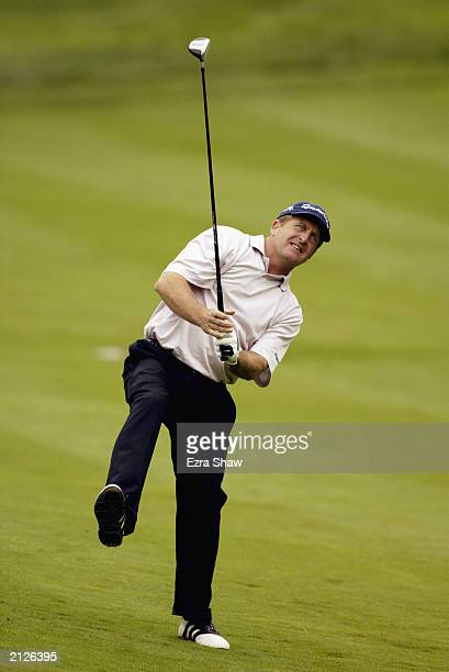 Fred Funk tries to use body language on his second shot on the ninth hole of the final round of the Buick Classic on June 22 2003 at the Westchester...