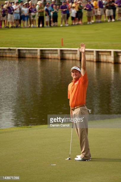 Fred Funk waves to the gallery at the eighteenth hole after winning the Insperity Championship at The Woodlands Country Club on May 6 2012 in The...