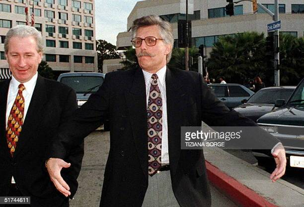 Fred Goldman father of murder victim Ron Goldman arrives to the Santa Monica California courthouse 07 February Lawyers continue to argue over OJ...