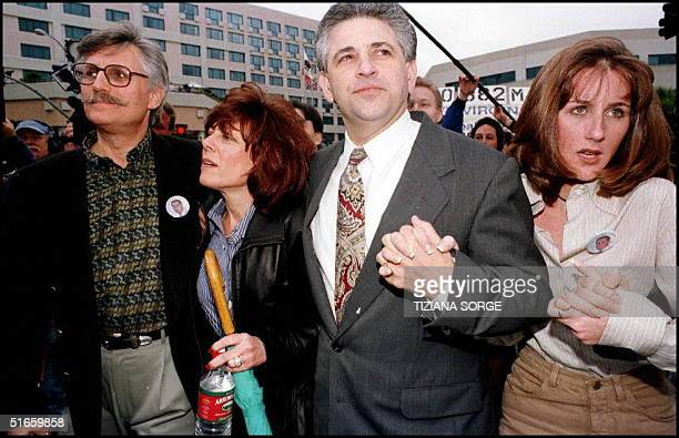 Fred Goldman, his wife Patti Goldman, their lawyer Daniel Petrocelli, and daughter Kim Goldman arrive 10 February at the Santa Monica Court for the...
