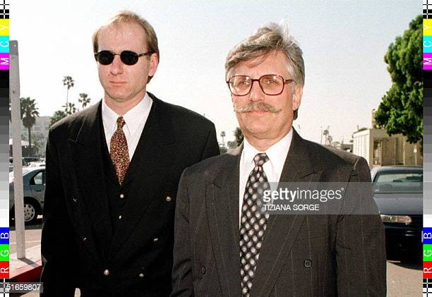 Fred Goldman , the father of murder victim Ron Goldman, leaves the court in Santa Monica, California, with an unidentified man during the final phase...