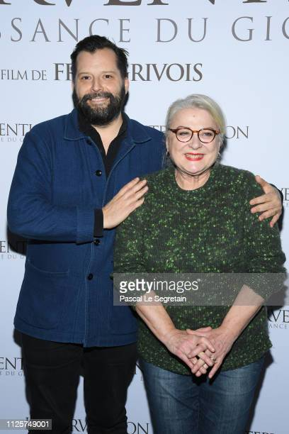 """Fred Grivois and Josiane Balasko attend """"L'intervention"""" Paris Premiere at Mk2 Bibliotheque on January 28, 2019 in Paris, France."""