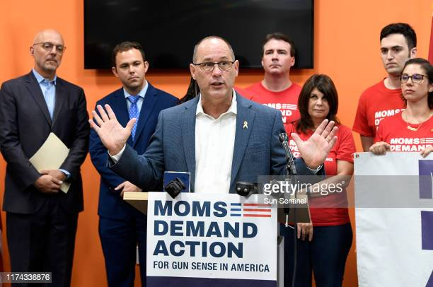 Fred Guttenberg, activist against gun violence and father of Stoneman Douglas High School shooting victim Jaime, speaks during a press conference...