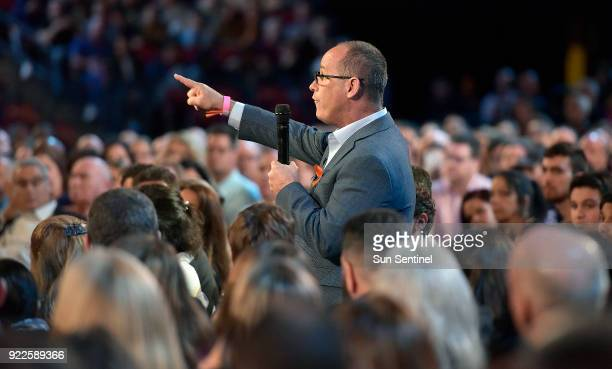 Fred Guttenberg asks Sen Marco Rubio a question during a CNN town hall meeting on Wednesday Feb 21 at the BBT Center in Sunrise Fla Guttenberg lost...