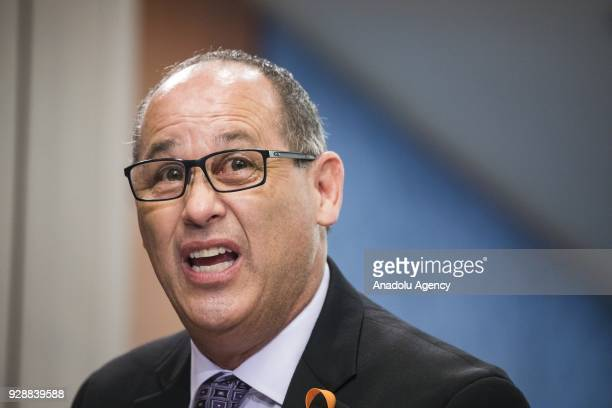 Fred Guttenberg father of Jaime Guttenberg age 14 who was killed at Marjory Stoneman Douglas High School speaks during a meeting held by Senate...