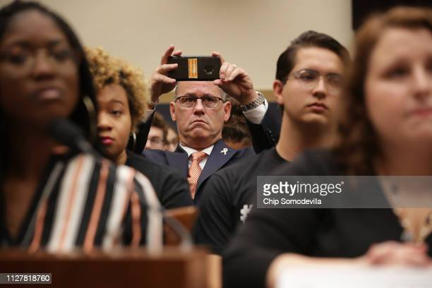 Fred Guttenberg father of murdered Marjory Stoneman Douglas freshman Jamie Guttenberg attends a hearing on gun violence legislation in the Rayburn...