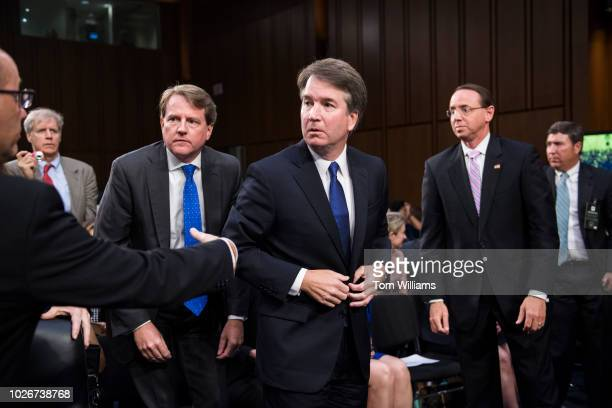 Fred Guttenberg left whose daughter Jaime was killed in the Parkland Fla school shooting attempts to talk with Supreme Court nominee Brett Kavanaugh...