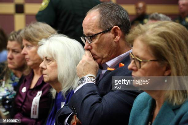 Fred Guttenberg listens to proceedings as Nikolas Cruz is arraigned at the Broward County Courthouse March 14 2018 in in Fort Lauderdale Florida Cruz...
