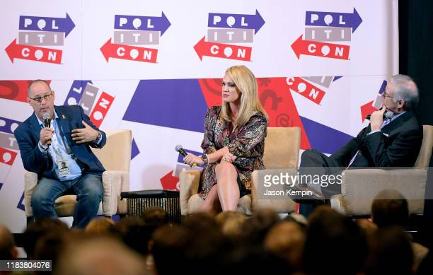 Fred Guttenberg Scottie Nell Hughes and Rick Ungar speak onstage during day 2 of Politicon 2019 at Music City Center on October 27 2019 in Nashville...